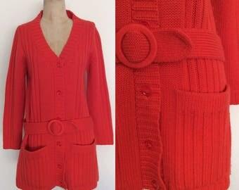 1970's Orange Wool Knit Belted Cardigan Sweater with Dropwaist Mod Retro Size Medium Large by Maeberry Vintage