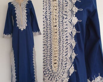1970's Blue Embroidered Maxi Dress Hippie Boho Ethnic Dress Size Small Medium by Maeberry Vintage