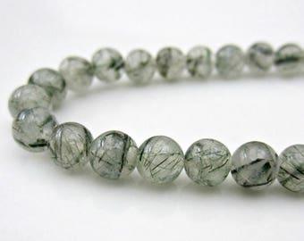 VACATION SALE Green Tourmalinated Quartz, Smooth Round Beads, Green Rutilated Quartz Stones, Green Stones, Green Beads, Green Gemstone,  6mm