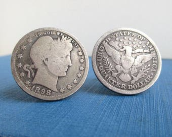 Cuff Links - 1898 Barber Quarters - .900 Silver, Eagle, Repurposed USA Coins