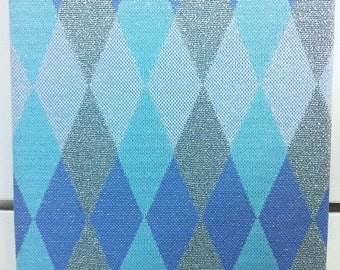 Vintage 60s metallic fabric wall hanging with blue & silver diamond print
