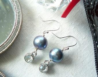 Grey Freshwater Pearl and Rhinestone Drop Earring