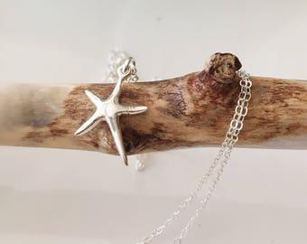 Starfish Necklace,Sterling Silver Starfish Necklace,Beach Jewelry,Ocean Jewelry,Beach Wedding,Bridesmaid Gift,Beach Gift,Starfish Pendant