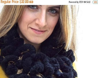 CIJ SALE Black Soft and Fluffy Scarf, Gold and Black Plush Knitted Warm Winter Neck Warmer