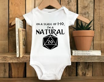 Screenprinted Short Sleeve or Long Sleeve Onesie : On A Scale Of 1-10 I'm a Natural 20 Onesie FREE SHIPPING