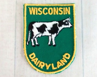 """Vintage 2.75"""" Sew On Wisconsin Souvenir Patch, America's Dairyland, Holstein Cow Applique, WI Travel Collectible, Badger State"""