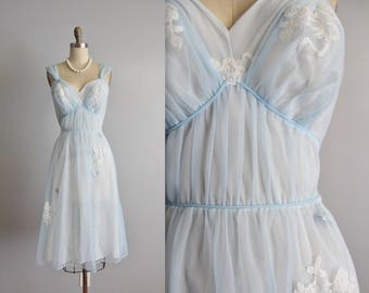 50's Butterfly Slip //  Sheer Baby Blue Chiffon Lace Butterfly Applique Goddess Slip Dress S