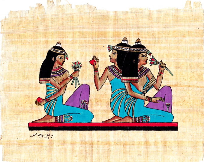 NEW! Hand Painted Papyrus-Goddess Gathering. Unframed colorful Egyptian papyrus. Great gift for your wife, girlfriend, friend! Get a frame!