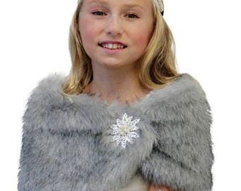 Summer Sale Faux fur wrap, Bridal wrap, Grey Chinchilla Faux Fur Wrap Fox for FLOWER GIRLS, faux fur shrug, faux fur cape