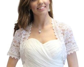Summer Sale Wedding bolero, White Lace Jacket, bridal lace bolero, wedding jacket 720SLJ-WHI