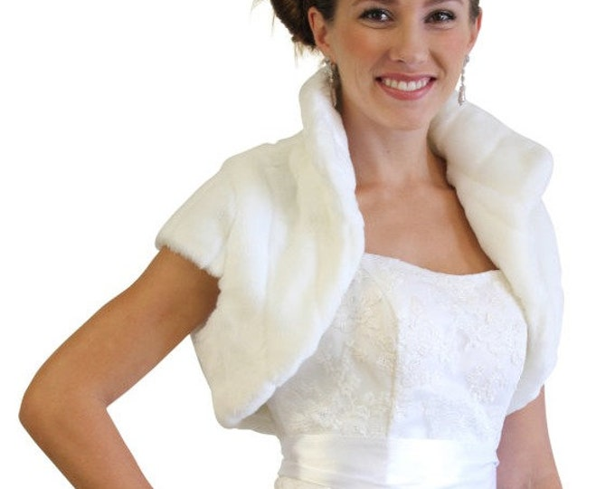 Easter Sale White Faux Fur Shrug Bridal Bolero Crop Jacket 603NM-WH-L
