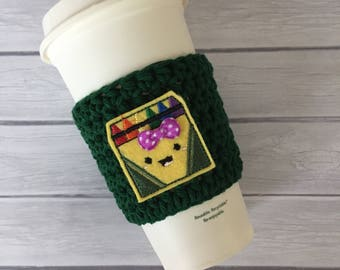 Back to school, coffee cozy, cup cozy, back to school gift, crochet cozy, crochet coffee cozy, cup cozy, teacher gift, crayon gift, crayons