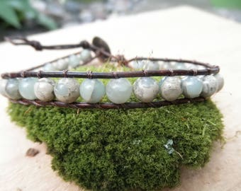 Aqua Terra Jasper Leather Wrapped Bracelet