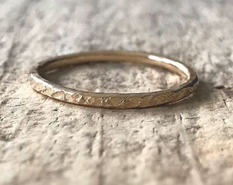 Raw Silk Texture Gold Ring, Gold Fill Ring, Skinny Ring Band, Gold Stacking Ring, Stackable Ring, Bohemian Ring, Bohemian Jewelry, Christmas