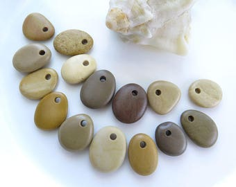 Top Drilled Beach Pebbles 15 pcs, Beach Stone Pendants, Rare Stones, Eco Friendly Beads, Natural Sea Stones, River Rocks