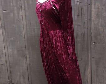 Burgundy Velvet Maxi Dress Studded Stevie Nicks