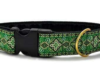 "Ready-to-Ship: Green Nobility Jacquard - 1.5"" Buckle Collar - LARGE - Brass Hardware"