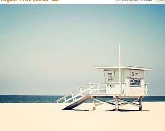 "SALE Beach Photography, Blue Teal Decor, Summer, Los Angeles California Wall Art, Beach Decor, Lifeguard Tower Print  ""Hermosa Beach"""