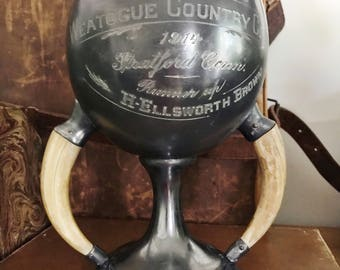 Antique 1914 Silver Plate Tennis Trophy with Boar Tusk Handles