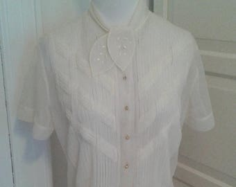 ON SALE 50s Ivory Blouse, Debcraft, Sheer, Nylon, Peplum, Intricate Pleating, Hand Detailed, Size M to L, 38 Bust