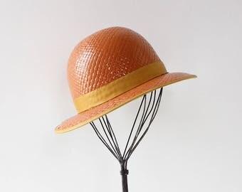 70s Gucci Bowler Hat • Vintage Straw Hat • Vintage Gucci Hat • 70s Hat • Vintage Designer Hat • Gucci Accessories | GSC030