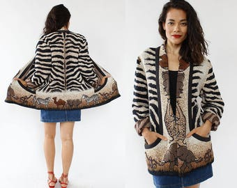 Animal Print Tapestry Jacket • 90s Jacket • Oversized Jacket • Tribal Jacket • Vintage Jacket • Boho Jacket • Cotton Jacket  | O418