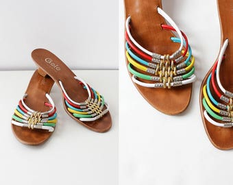 Rainbow Sandals 8-8 1/2 • Kitten Heel Sandals • Colorful Sandals • Vintage Leather Sandals • Golo Leather Strappy Sandals | SH377