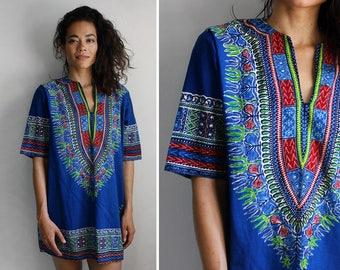 Dashiki Mini Dress • Vintage Mini Dress • Cotton Mini Dress • Dashiki Top • 80s Mini Dress • Cotton Summer Dress • Dashiki Dress | D1409