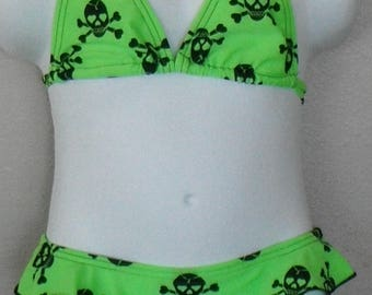 Girl 2-piece bikini lime green skulls and cross bones 4T, 5, 6, 7, or 8