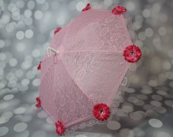 Girl's Pink Lace Parasol, Sun Umbrella with Pink Flowers, Child's Parasol, Flower Girl, Girls Tea Party Sun Shade, Photo Prop,17104