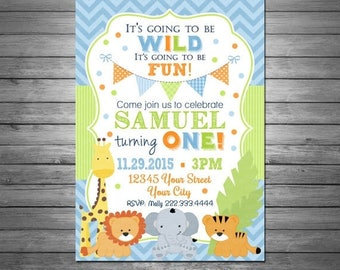 ON SALE Jungle Animals First Birthday Invitation, Safari Birthday Invitation, Blue and Green Birthday, Jungle Animals, 1st Birthday Invitati