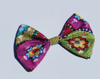 "6"" colorful cotton fabric bow clip or headband"