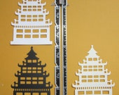 Medium Size Pagoda Die Cut Papers  6 pieces