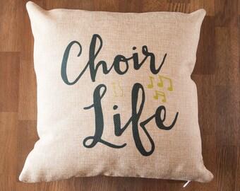 Choir is Life Faux Burlap 12 inch Decorative Throw Pillow