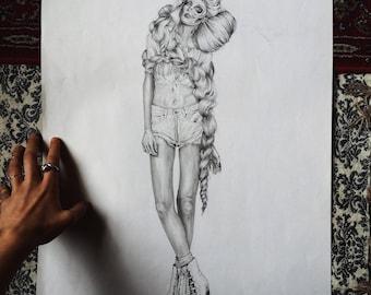 Roller Girl /// Graphite Original Art