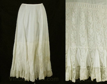 Size 6 Victorian Petticoat - Antique White 1890s 1900s Underskirt with Exquisite Net Godet Pleats - Edwardian Under Skirt - Waist 26 - 49034