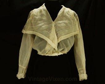 Antique 1910s Silk Blouse - Size 4 Sheer Silk Georgette Edwardian Shirt - Neutral Pneumonia Blouse - Beige Ecru Taupe - Waist 24.5 - 49021