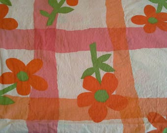 Retro Large Orange and Pink Floral Print Cotton Fabric 1 7/8 Yards  X0982