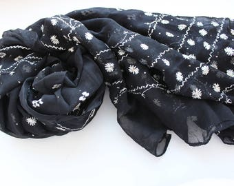 Indian vintage black hand embroidered kantha long stole. Black scarf, palantine. SCM011