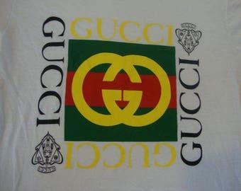 Vintage 90's 80's GUCCI rap hip hop non concert tour White T Shirt Men's Size M
