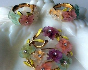 ANNIVERSARY SALE Signed ART Floral Brooch and Earrings Set - Enamel Leaves