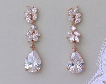 Bridal Earrings, Rose Gold Earrings, Rose Gold Wedding Earrings, Chandelier Earrings, ANNIE C
