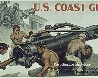WORLD WAR II Coast Guard Poster Memorabilia Shirtless Men Missle Rocket
