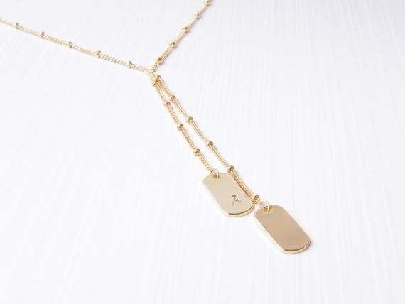 Dog Tag Initial Necklace