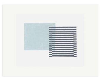 Mid Century Modern, geometric original screenprint, handmade minimal abstract art by Emma Lawrenson