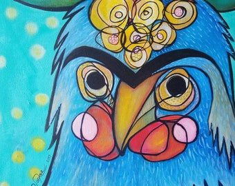 Feathered Frida - 24x48 acrylic on canvas