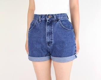 VINTAGE Lee Denim Shorts 1990s High Waist Jean Shorts Blue