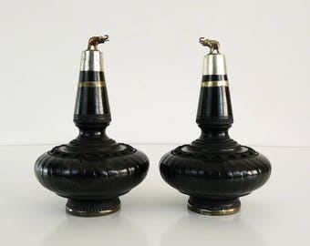 Black Elephant Topped Decanters / Hand decorated pottery