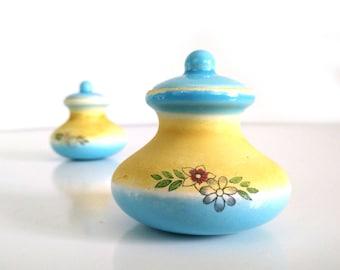 Vintage Miniature Ceramic Jars, set of 2