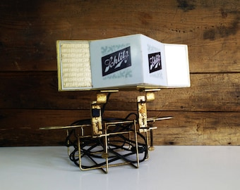 1965 Schlitz Real Gusto Clamp on Table Lamp / Condiment holder / Bar decor